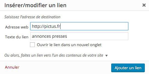 pictus-integrer-lien-sosu-WordPress-formulaire
