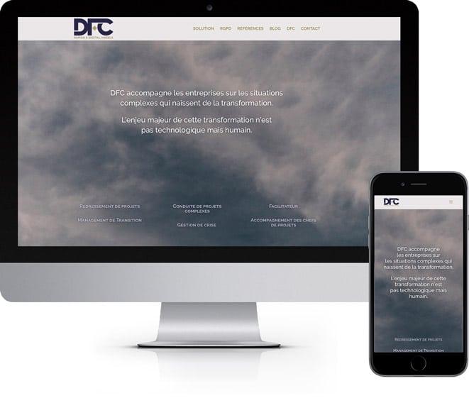 Développement du site institutionnel de DFC Partners, intégration d'un template personnalisé.