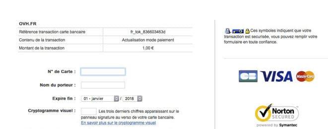 Phishing : moyens de paiement chez OVH